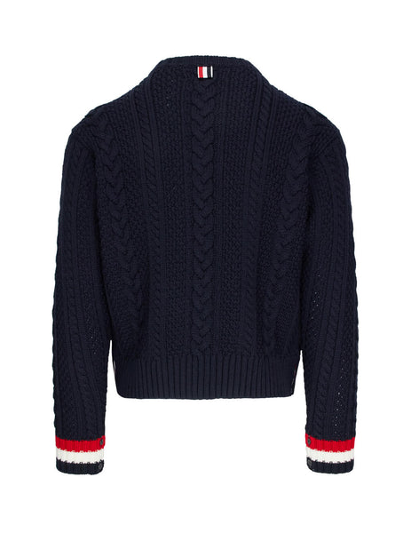 Thom Browne Men's Giulio Fashion Navy Aran Cable Crew Neck Pullover MKA277A00014415
