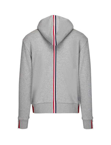 Thom Browne Men's Giulio Fashion Grey Center-Back Stripe Jersey Hoodie MJT086A03377055