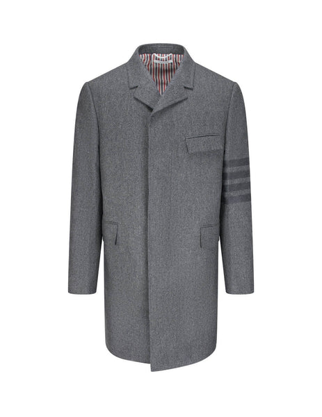 Men's Thom Browne Chesterfield Coat in Medium Grey. MOC005A06393035