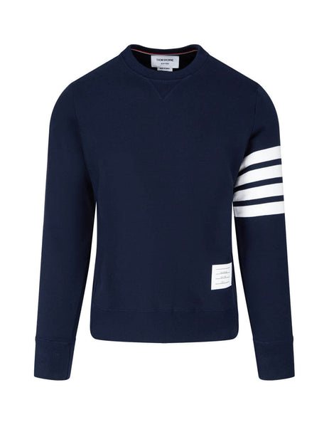 Men's Thom Browne Engineered 4 Bar Sweatshirt in Navy. MJT021H00535461