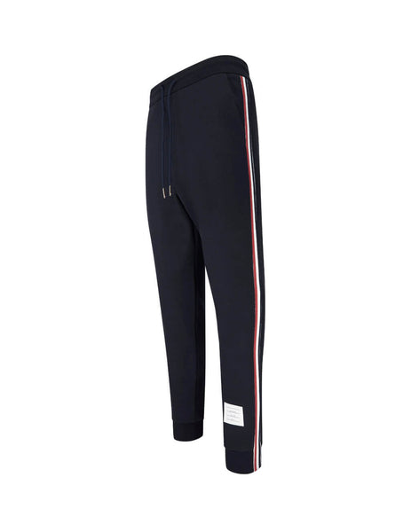 Thom Browne Men's Navy Grosgrain Stripe Track Pants in Cotton MJQ066A03377415