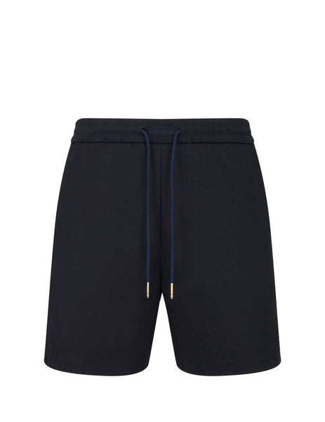 Men's Navy Thom Browne Interlocking RWB Striped Mid-Thigh Shorts MJQ090A06168415
