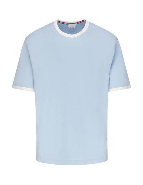 Thom Browne Men's Giulio Fashion Light Blue Jersey Ringer Tee MJS083A00042480
