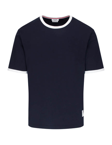 Thom Browne Men's Giulio Fashion Navy Blue Jersey Ringer Tee MJS083A00042415