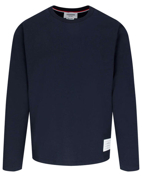 Thom Browne Men's Giulio Fashion Navy Relaxed Fit Long Sleeve Tee MJS068A00042415