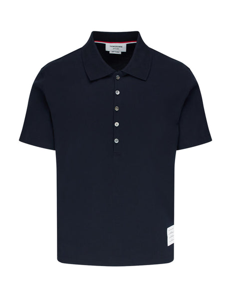 Thom Browne Men's Giulio Fashion Navy Blue Relaxed Fit S/S Polo Shirt MJP052A00042415