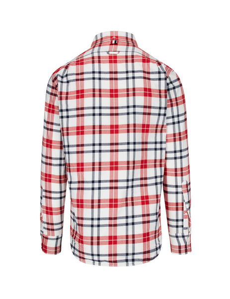 Thom Browne Men's Giulio Fashion Red Tartan Shirt MWL272A05746960