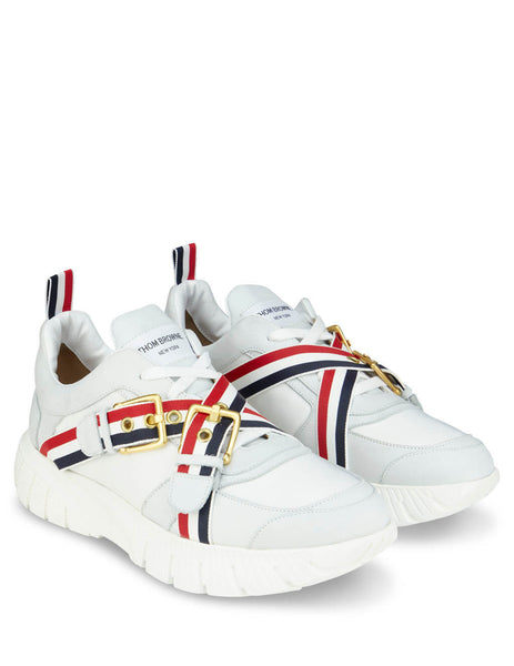 Thom Browne Men's Giulio Fashion White Web Raised Running Shoe MFD130A00618100