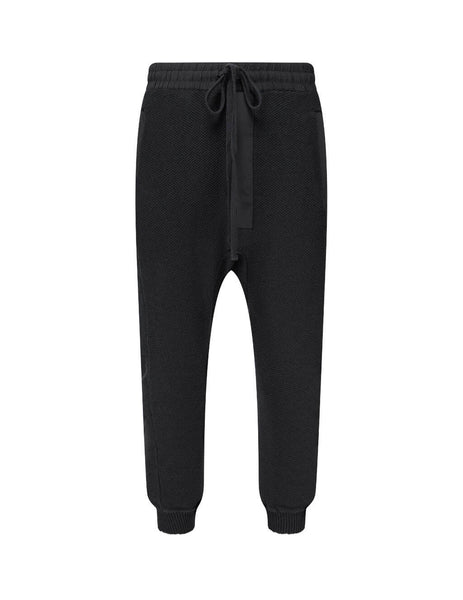 Men's thom/krom Waffle Woven Trousers in Black. M ST 207 0111