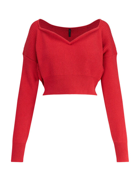 Women's Red Unravel Project Heart Shaped Jumper UWHA079S20KNI0012500