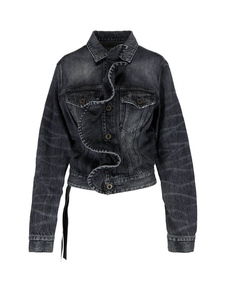Unravel Project Women's Giulio Fashion Black Ruffled Denim Jacket UWYE014F19DEN0011100