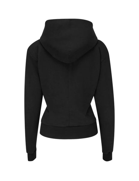 Unravel Project Women's Giulio Fashion Black Terry Pintuck Hoodie UWBB047F19FLE0011000