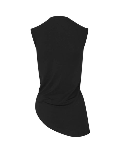 Unravel Project Women's Giulio Fashion Black Twist Sleeveless Top UWAD033F19JER0011000
