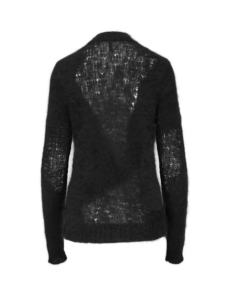 Unravel Project Women's Giulio Fashion Black Wool Inlay Knit UWHE015F19KNI0011000