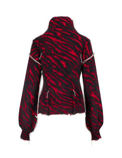 Unravel Project Women's Giulio Fashion Red Zebra Stripe Jumper UWHF011F19KNI0012010