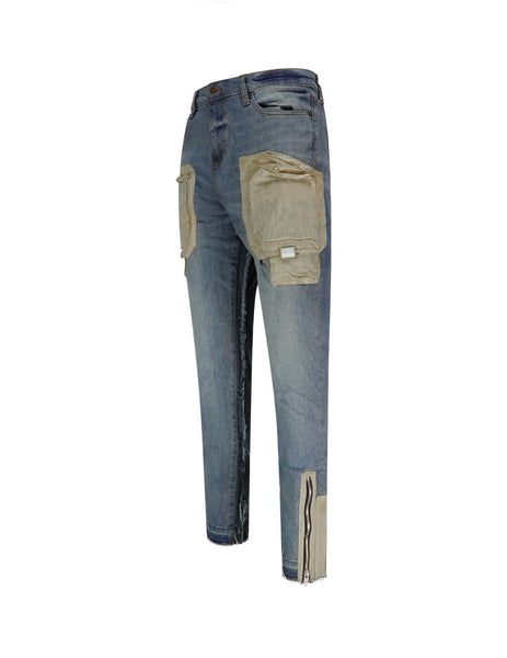 Men's Blue Sand Wash VAL KRISTOPHER Cargo Pocket Denim Jeans 1000922