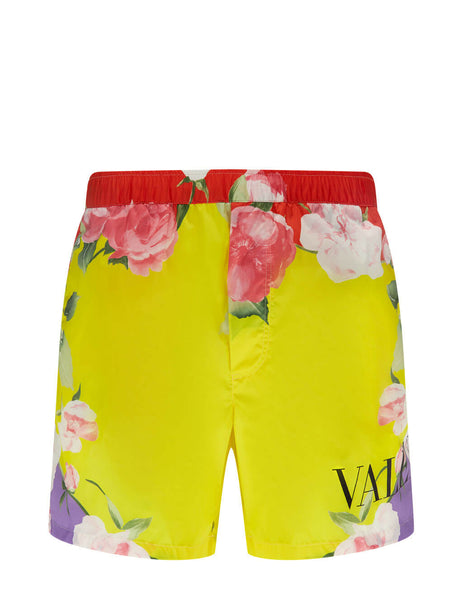 Men's Valentino Flying Flowers Print Swim Shorts in Yellow/Multicolour - VV0UH0287F8G57