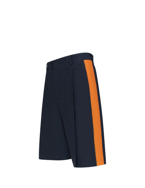 Men's Navy and Orange Valentino Pleated Band Detail Shorts TV0RDA8566592M