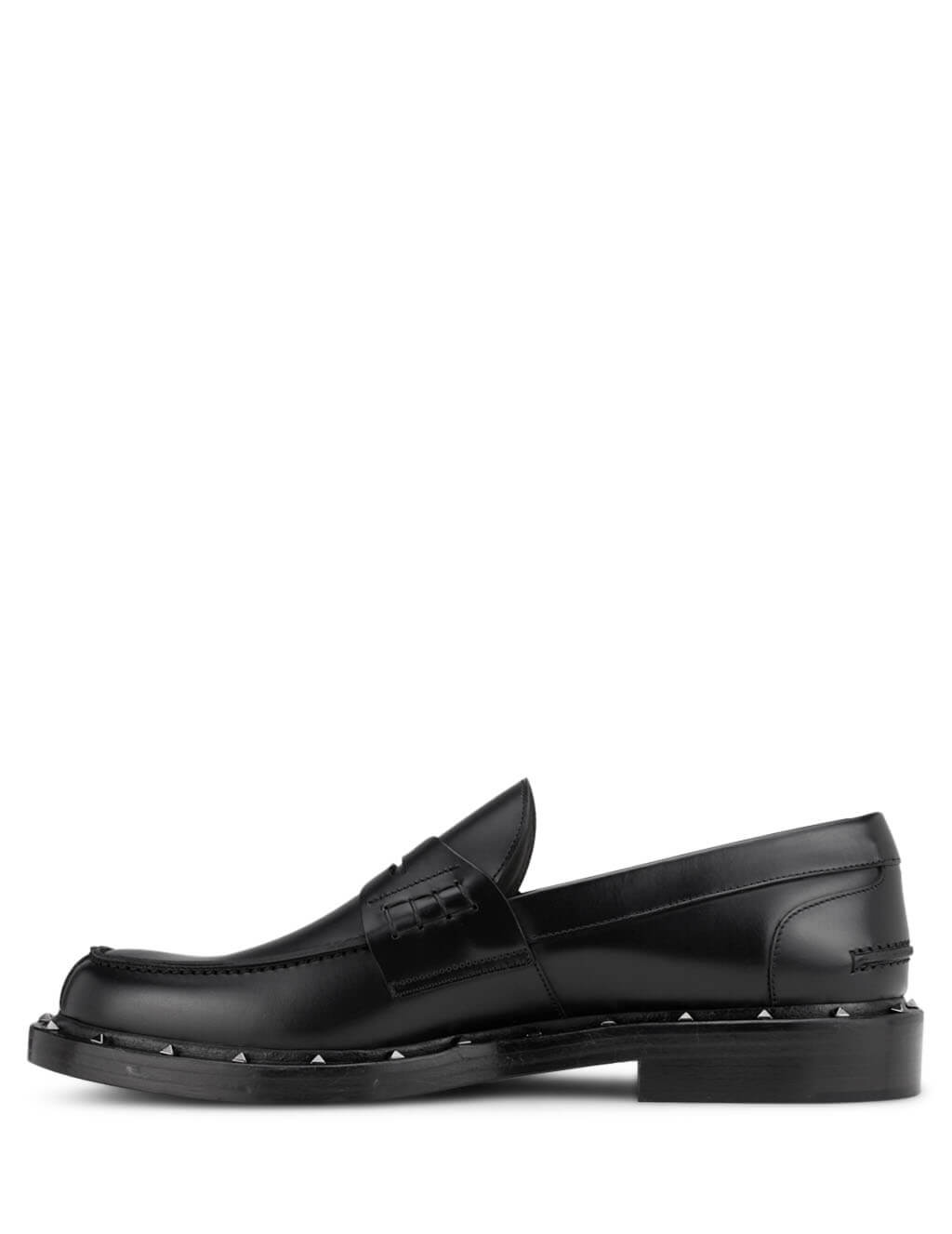 Valentino Men's Black Leather Rockstud Loafers TY2S0C42PMF 0NO