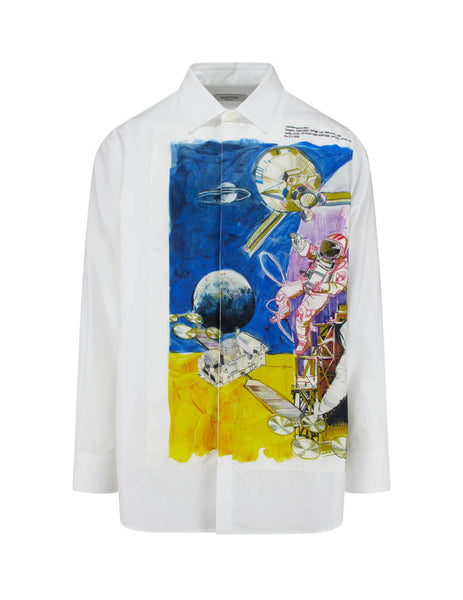 Valentino Men's Giulio Fashion White Spaceland Shirt TV3ABA955WP 0BO