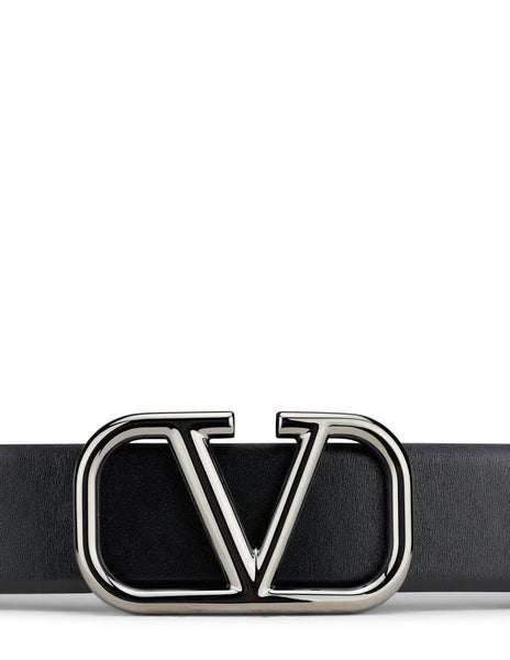Men's Valentino VLOGO Signature Leather Belt in Black/Silver - VY2T0Q87AZR0NO