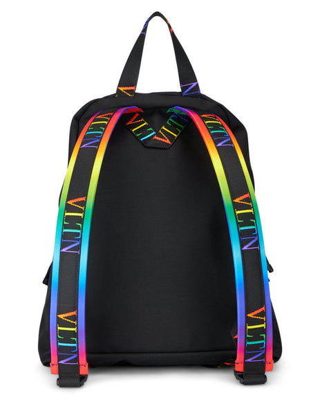 Men's Valentino VLTN Nylon Backpack in Black/Multicolour - VY2B0993KBPN78