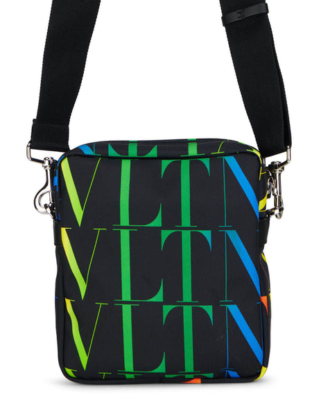 Men's Valentino VLTN Times Nylon Crossbody Bag in Black/Multicolour - VY2B0942MVXN78