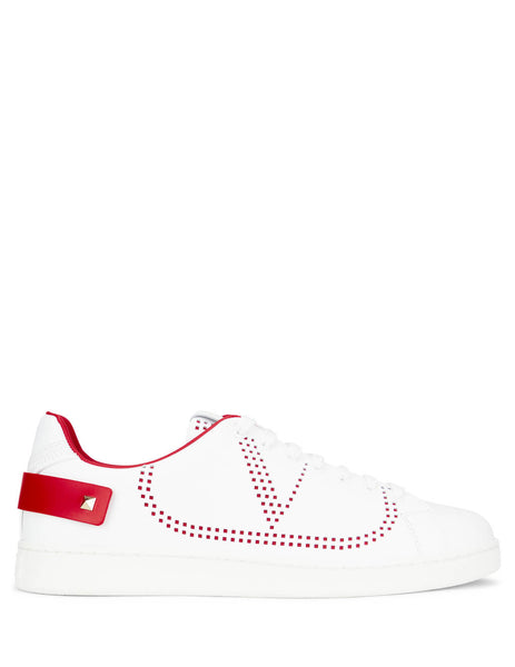 Valentino Men's BACKNET Leather Sneakers White/Pure Red SY2S0C04DYHDS5