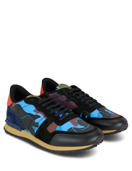 Men's Blue and Orange Valentino Camouflage Rockrunner Sneakers TY0S0723TCC30Z