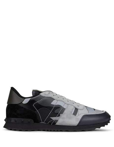 Men's Valentino Camouflage Rockrunner Sneakers in Black/Grey - UY2S0723XVUIJ7