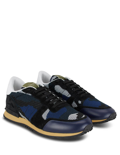 Men's Blue, Black and White Valentino Camouflage Rockrunner Sneakers TY0S0723QRK31J