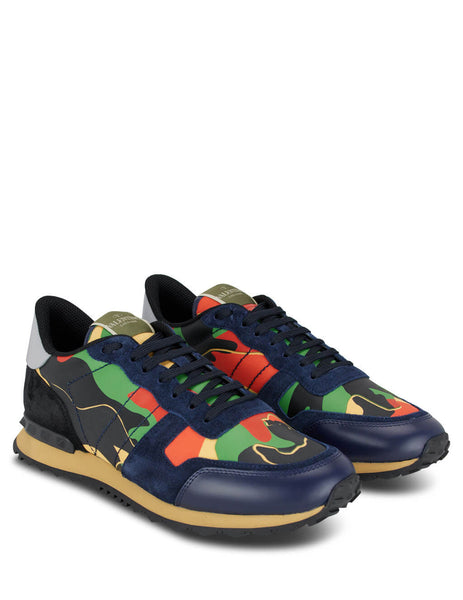 Men's Green, Orange and Blue Valentino Camouflage Rockrunner Sneakers TY0S0723TCC31D