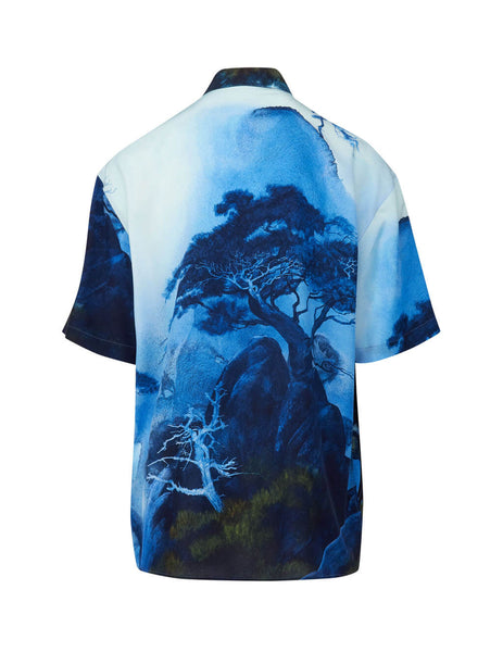 Valentino Men's Giulio Fashion Blue Dragons Garden Silk Shirt TV0AAB3566A 87M