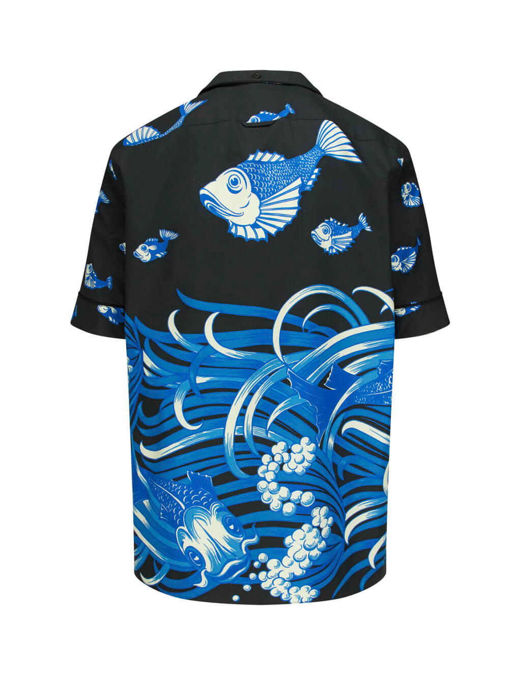 Valentino Men's Black/Blue Cotton Fishrain Shirt SV3AA7685D3IYM