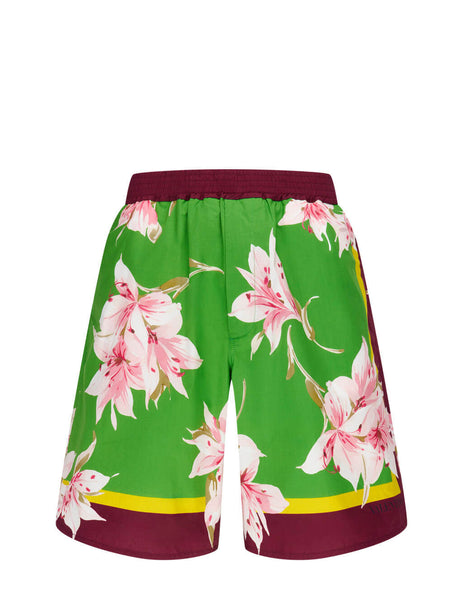 Men's Valentino Floral Swim Shorts in Green/Multicolour - VV0RDB307EDH77