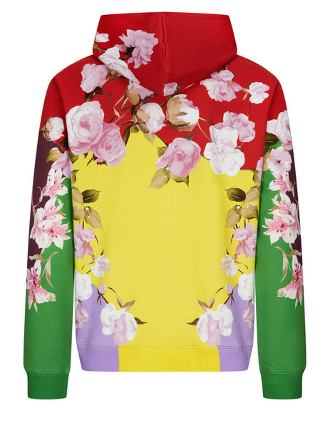 Men's Valentino Flying Flowers Print Hooded Sweatshirt in Multicolour - VV0MF18E7EMG57