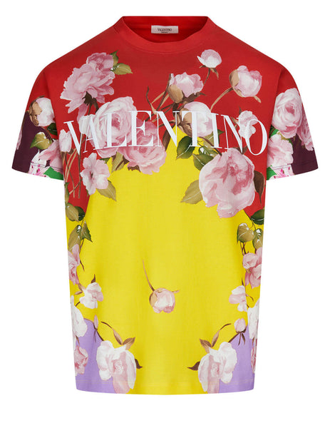 Men's Valentino Flying Flowers Print T-Shirt in Multicolour - VV0MG09S7EPG57