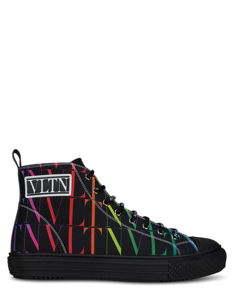 Men's Valentino Giggies High Top Sneakers in Black - VY2S0D51WEFAZ8