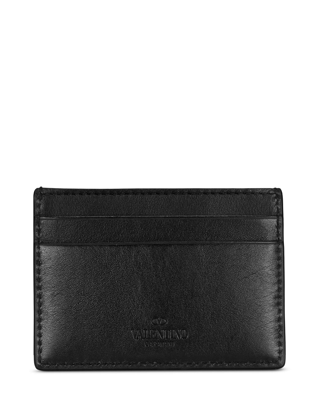 Valentino Men's Giulio Fashion Black Go Logo Leather Card Holder RY0P0655QRZ0NI