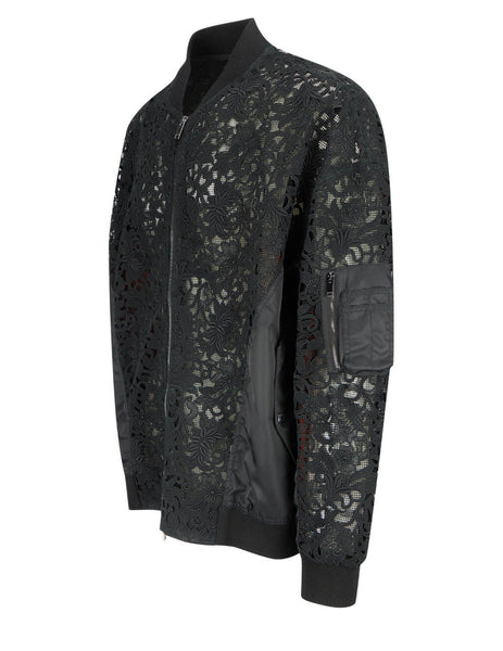 Men's Valentino Macramé Lace Bomber Jacket in Black - VV0CII467ES0NO