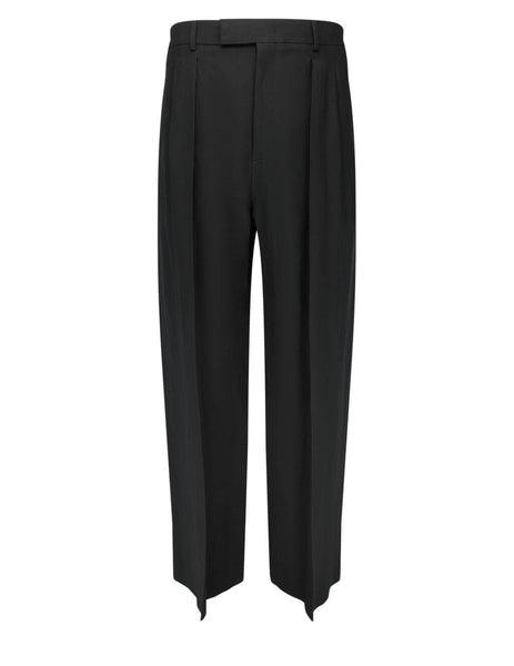 Men's Valentino Paper Yarn Canvas Trousers in Black - VV0RBG507BN0NO