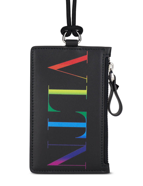 Men's Valentino Rainbow VLTN Neck Card Case in Black/Multicolour - VY2P0R61KCCN78