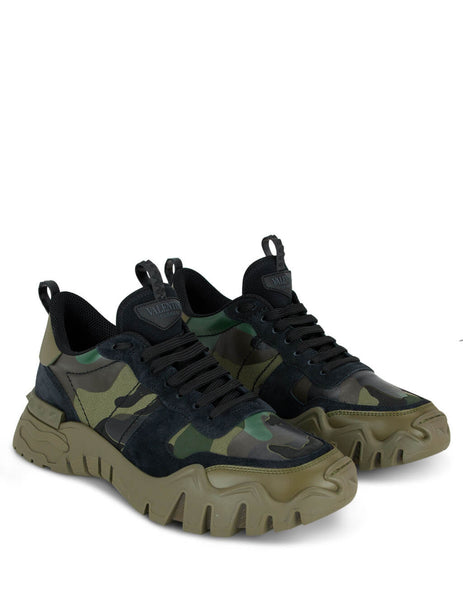 Men's Army Green Valentino Rockrunner Plus Sneakers TY0S0C88DRN34Q