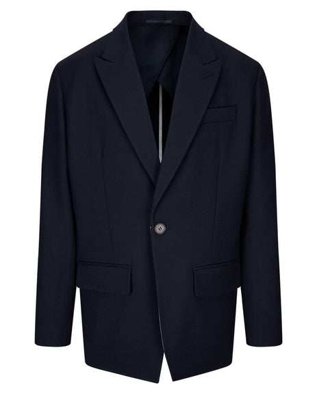 Men's Valentino Single Breasted Wool Jacket in Navy Blue/White - VV0CEC6075U022