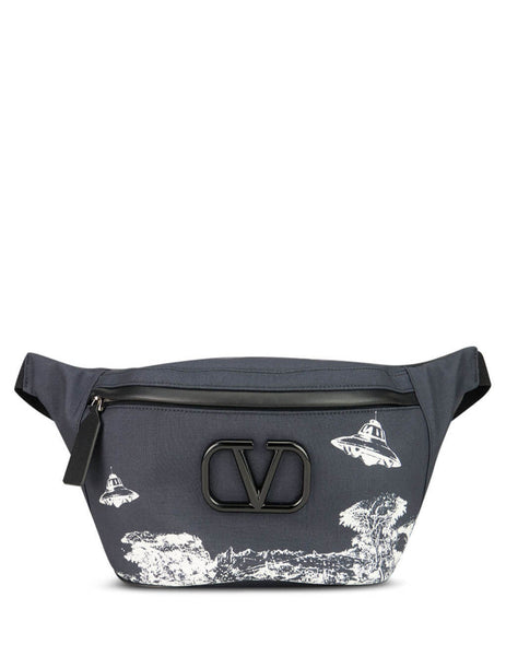 Valentino Men's Giulio Fashion Navy Spaceship Landscape Belt Bag SY0B0827ETT0NI
