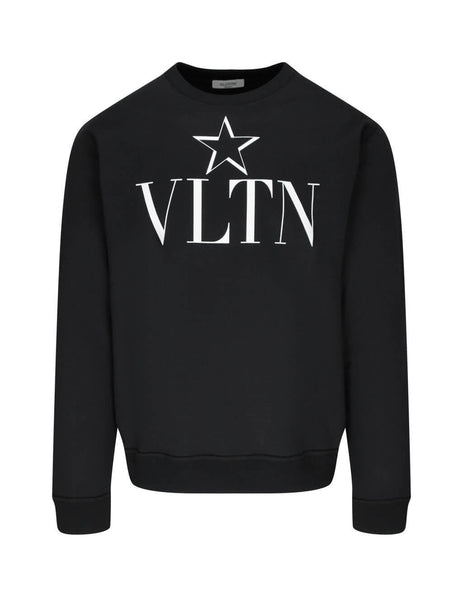 Valentino Men's Giulio Fashion Black Star VLTN Sweatshirt TV3MF10V63A0NI