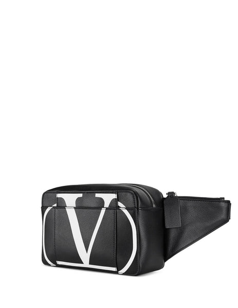 Valentino Men's Giulio Fashion Black VLOGO Leather Belt Bag SY2B0836PCRNER