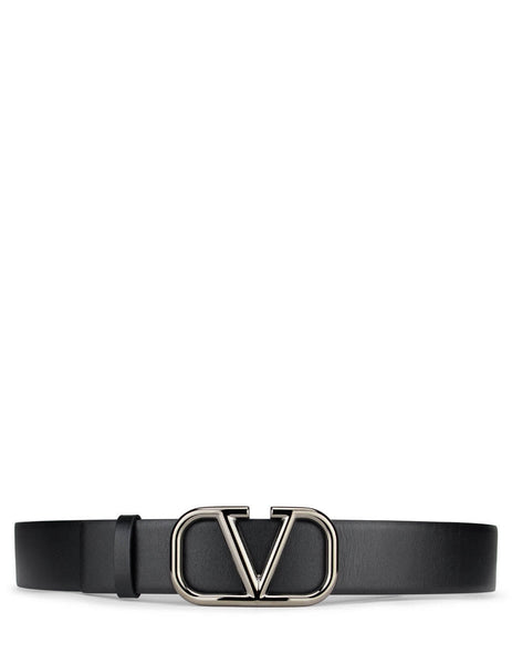 Men's Black Valentino VLOGO Signature Leather Belt UY2T0Q87AZR0NO