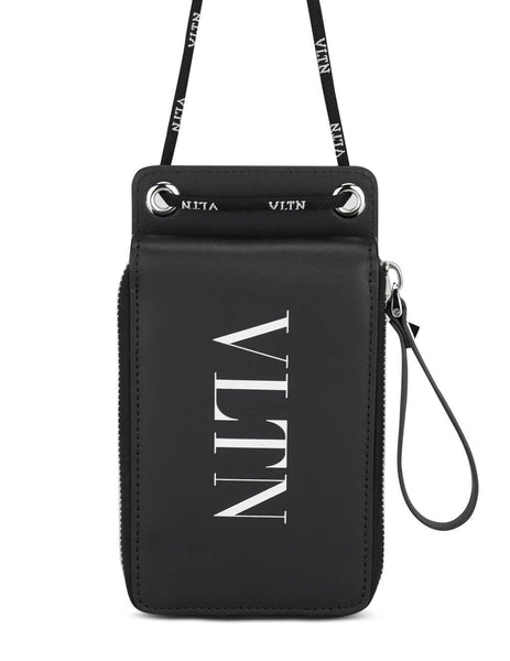 Men's Valentino VLTN Neck Wallet in Black/White - VY2P0P90LVN0NO
