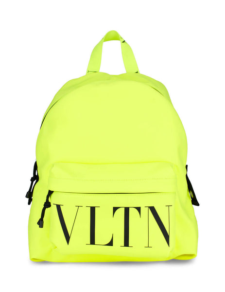 Men's Neon Yellow Valentino VLTN Nylon Backpack UY2B0993HUFBX9